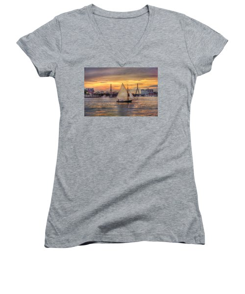 Boston Harbor Sunset Sail Women's V-Neck T-Shirt (Junior Cut) by Joann Vitali