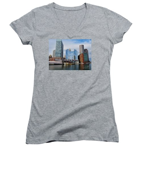 Boston Skyline I Women's V-Neck T-Shirt (Junior Cut) by Barbara Bardzik