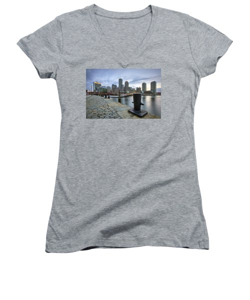 Boston Skyline Sunset Women's V-Neck T-Shirt
