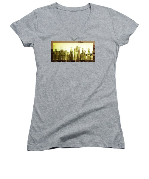 Women's V-Neck T-Shirt (Junior Cut) featuring the photograph Bottled Light by Holly Kempe
