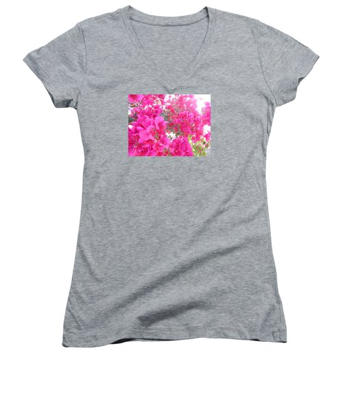Bougainvillea Women's V-Neck T-Shirt (Junior Cut) by Kay Gilley