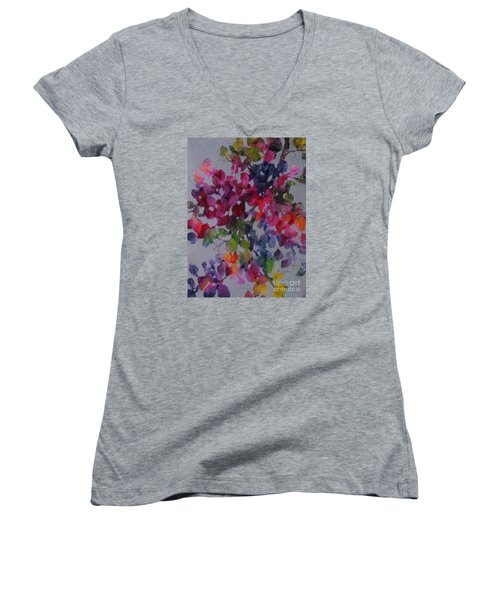 Women's V-Neck T-Shirt (Junior Cut) featuring the painting Bougainvillea by Michelle Abrams