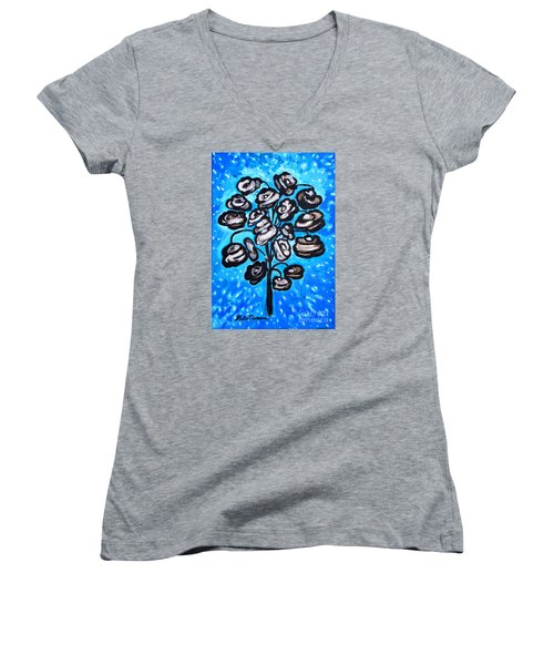 Bouquet Of White Poppies Women's V-Neck T-Shirt (Junior Cut) by Ramona Matei