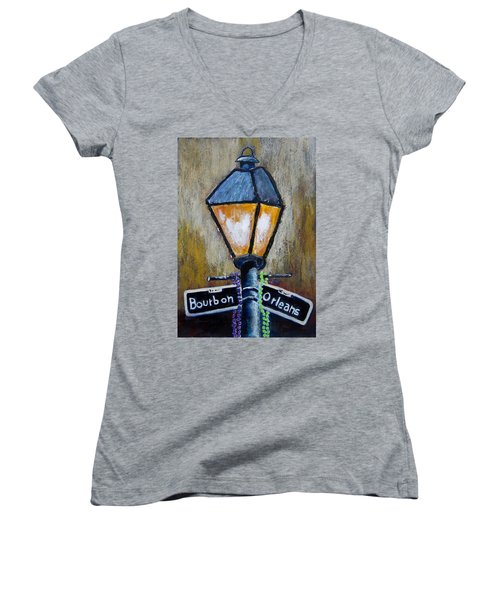 Bourbon Light Women's V-Neck T-Shirt (Junior Cut) by Suzanne Theis