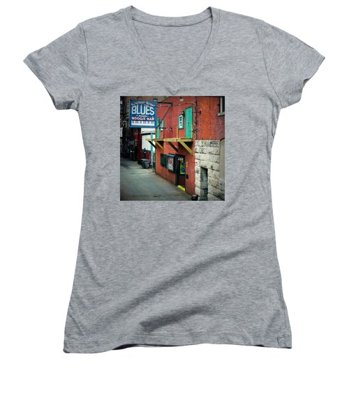 Bourbon Street Blues Women's V-Neck T-Shirt