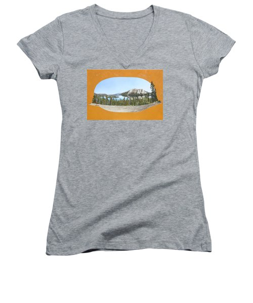 Women's V-Neck T-Shirt (Junior Cut) featuring the painting Bove Island Alaska by Wendy Shoults