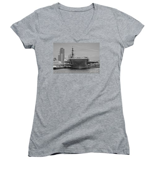 Bow Of The Uss Midway Museum Cv 41 Aircraft Carrier - Black And White Women's V-Neck T-Shirt (Junior Cut) by Claudia Ellis