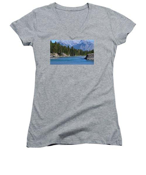 Bow River  Women's V-Neck T-Shirt (Junior Cut) by Cheryl Miller