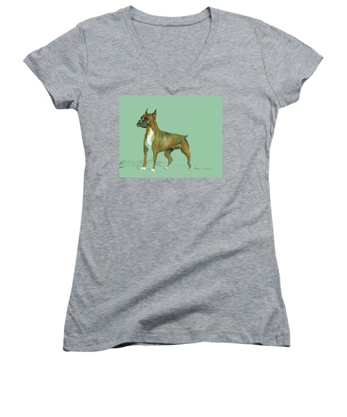 Boxer Women's V-Neck T-Shirt (Junior Cut) by Terry Frederick