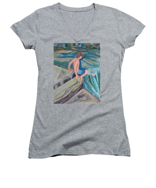 Boy With Foot In Falls Women's V-Neck T-Shirt
