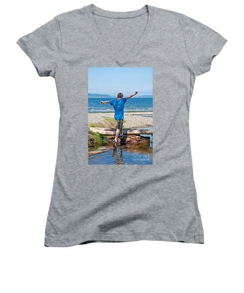Boyhood Fun Art Prints Women's V-Neck T-Shirt (Junior Cut) by Valerie Garner