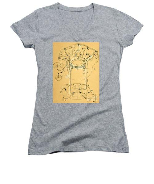Brain Vestibular Sensor Connections By Cajal 1899 Women's V-Neck