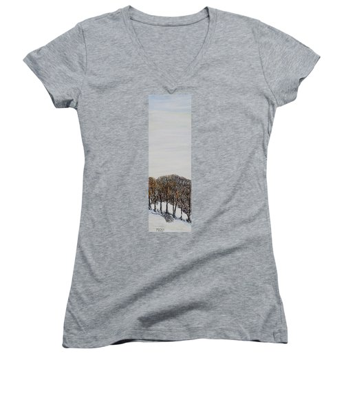 Women's V-Neck T-Shirt (Junior Cut) featuring the painting Branch Broken by Marilyn  McNish