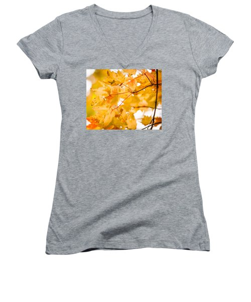 Branching Yellow Women's V-Neck T-Shirt