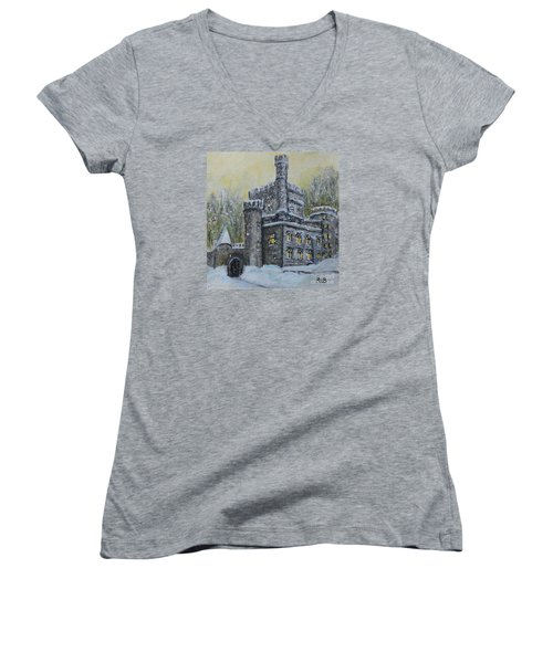Brandeis University Castle Women's V-Neck T-Shirt