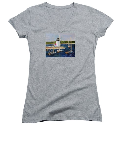 Women's V-Neck T-Shirt (Junior Cut) featuring the painting Brant Lighthouse Nantucket by Michael Helfen