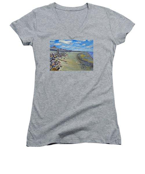 Brant Rock Beach Women's V-Neck T-Shirt (Junior Cut) by Rita Brown