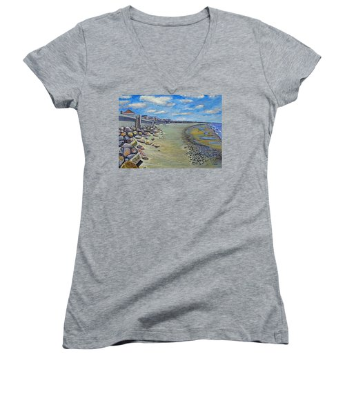 Brant Rock Beach Women's V-Neck T-Shirt