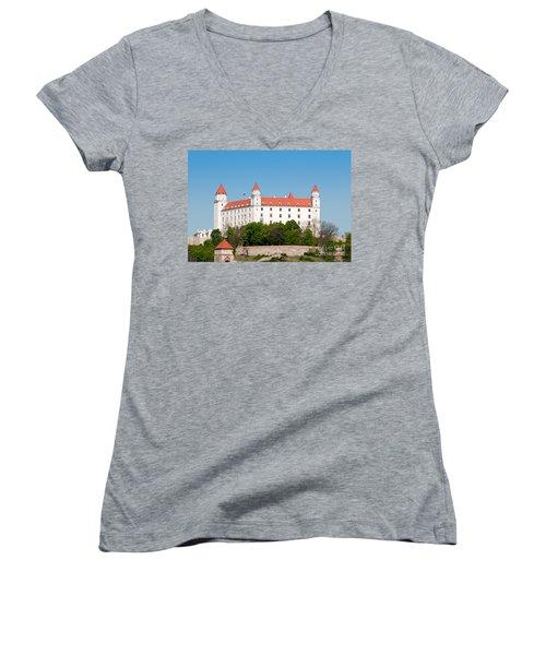 Women's V-Neck T-Shirt (Junior Cut) featuring the photograph Bratislava Castle by Les Palenik