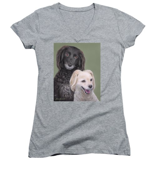 Women's V-Neck T-Shirt (Junior Cut) featuring the painting Brea And Randy by Jane Girardot