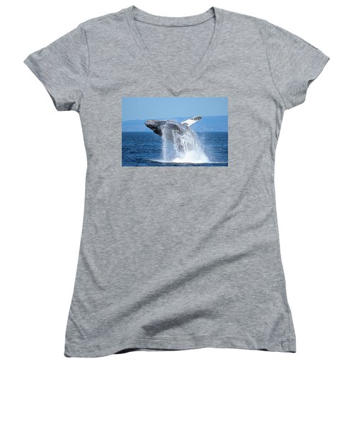 Breaching Humpback Women's V-Neck (Athletic Fit)