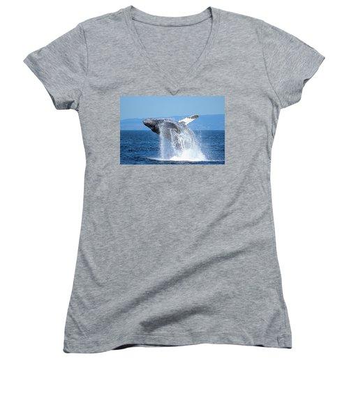 Breaching Humpback Women's V-Neck T-Shirt