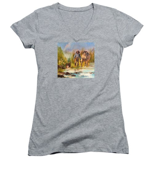 Women's V-Neck T-Shirt (Junior Cut) featuring the painting Break For The Ride by Karen Kennedy Chatham