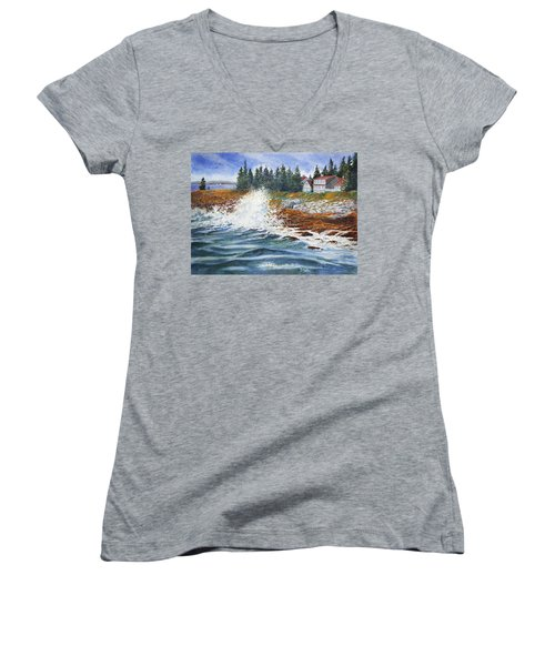 Breakers At Pemaquid Women's V-Neck T-Shirt