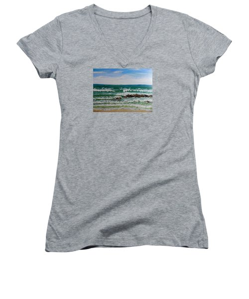 Breaking Waves Women's V-Neck T-Shirt (Junior Cut) by Pamela  Meredith