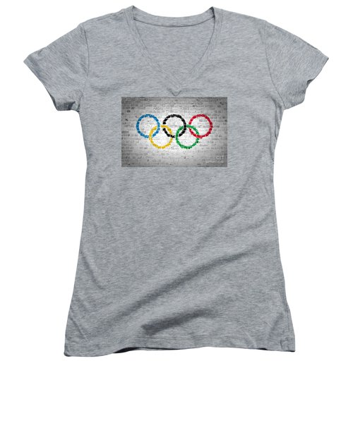 Brick Wall Olympic Movement Women's V-Neck T-Shirt (Junior Cut) by Antony McAulay
