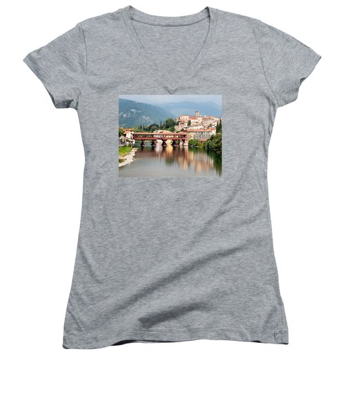 Bridge At Bassano Del Grappa Women's V-Neck T-Shirt (Junior Cut) by William Beuther