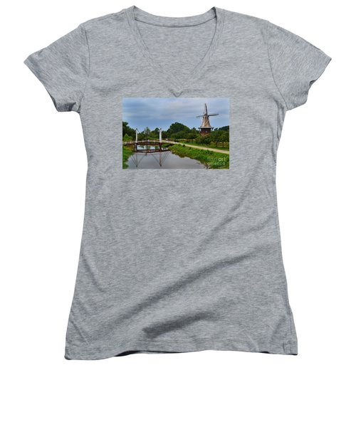 Bridge To Holland Windmill Women's V-Neck (Athletic Fit)