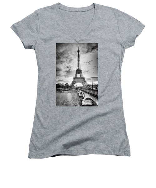 Bridge To The Eiffel Tower Women's V-Neck