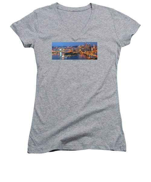 Bridge To The Pittsburgh Skyline Women's V-Neck (Athletic Fit)