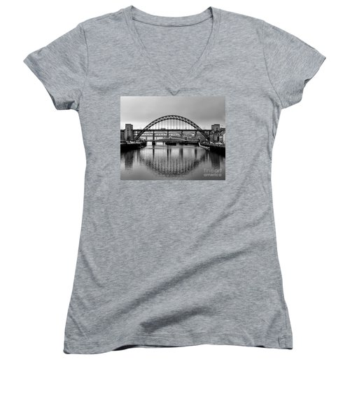 Bridges Over The River Tyne Women's V-Neck T-Shirt (Junior Cut) by Lynn Bolt