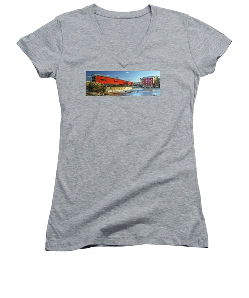 Women's V-Neck T-Shirt (Junior Cut) featuring the photograph Bridgeton Bridge And Mill by Harold Rau