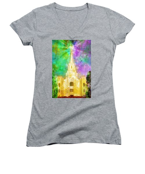 Women's V-Neck T-Shirt (Junior Cut) featuring the painting The Heavens Were Opened by Greg Collins