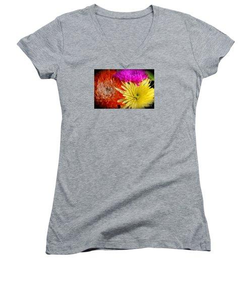 Bright Chrysanthemums Women's V-Neck T-Shirt (Junior Cut) by The Art of Alice Terrill