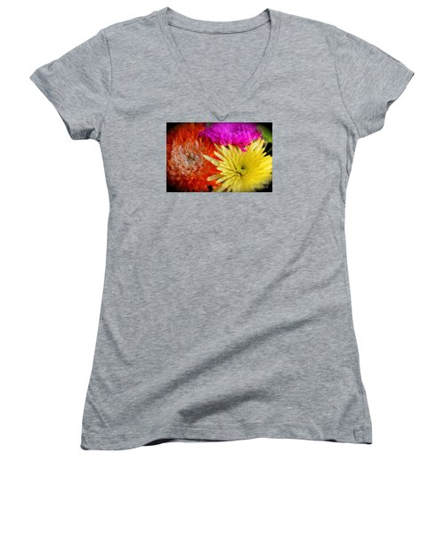 Bright Chrysanthemums Women's V-Neck T-Shirt (Junior Cut)