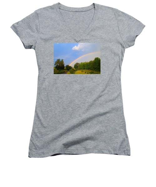Women's V-Neck T-Shirt (Junior Cut) featuring the photograph Bright Rainbow by Kathryn Meyer