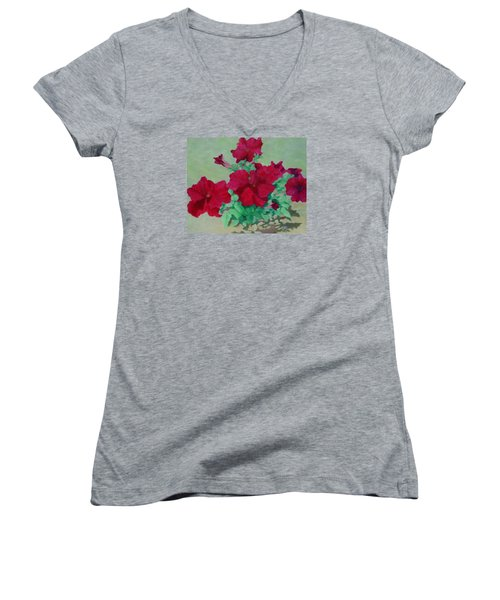Red Flowers Art Brilliant Petunias Bright Floral  Women's V-Neck T-Shirt