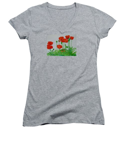 Red Poppies Colorful Flowers Original Art Painting Floral Garden Decor Artist K Joann Russell Women's V-Neck T-Shirt
