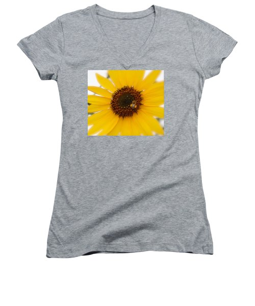 Women's V-Neck T-Shirt (Junior Cut) featuring the photograph Vibrant Bright Yellow Sunflower With Honey Bee  by Jerry Cowart