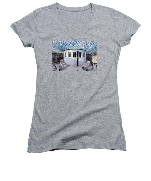 Women's V-Neck T-Shirt (Junior Cut) featuring the photograph British Museum Color by Matt Malloy