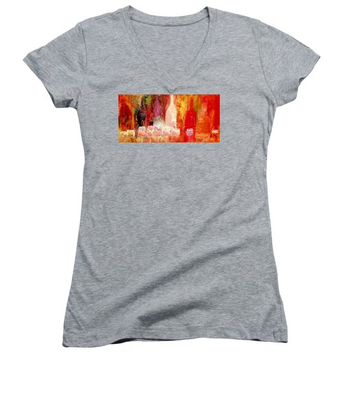 Women's V-Neck T-Shirt (Junior Cut) featuring the painting Broadway Wine Chorus  by Lisa Kaiser