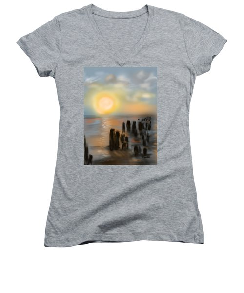 Women's V-Neck T-Shirt (Junior Cut) featuring the digital art Broken Dock by Christine Fournier