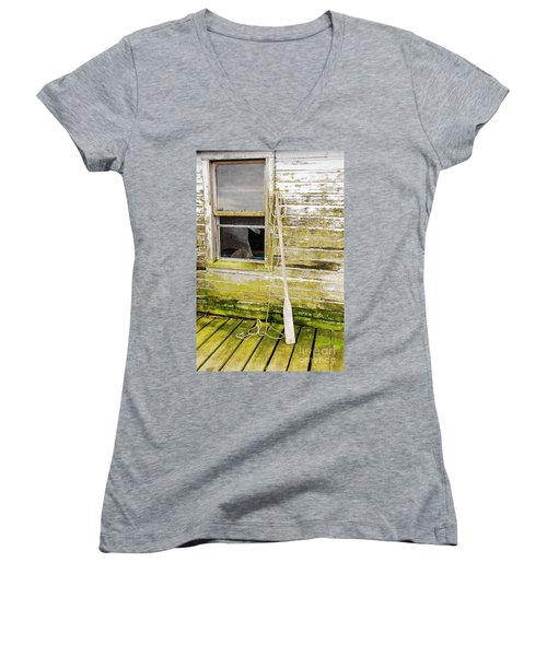 Women's V-Neck T-Shirt (Junior Cut) featuring the photograph Broken Window by Mary Carol Story