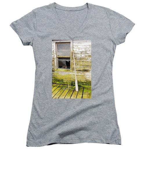 Broken Window Women's V-Neck T-Shirt (Junior Cut) by Mary Carol Story