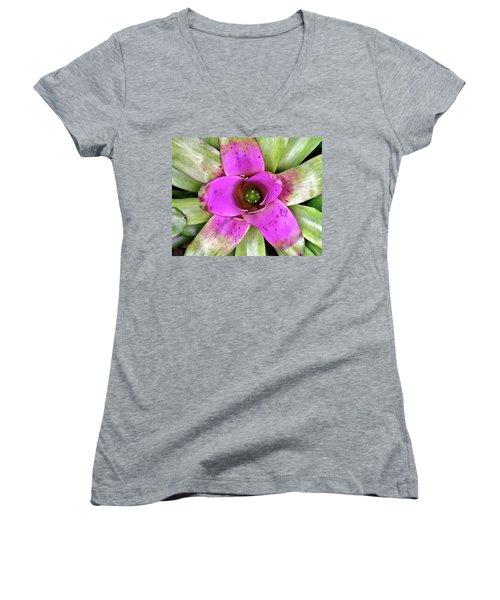 Women's V-Neck T-Shirt (Junior Cut) featuring the photograph Bromeliad by Allen Beatty