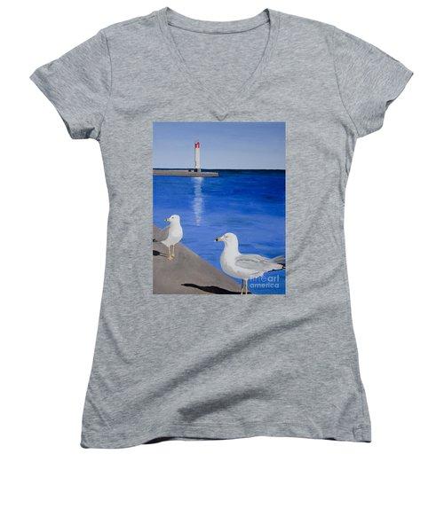 Bronte Lighthouse Gulls In Oil Women's V-Neck
